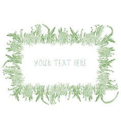 Grass frame background hand drawn vector