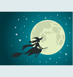 halloween witch flies on broomstick full moon vector image