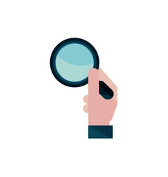 Hand with magnifier property intellectual vector