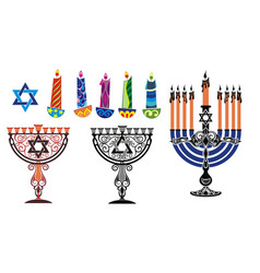 Hanukkah background with menorah and david vector