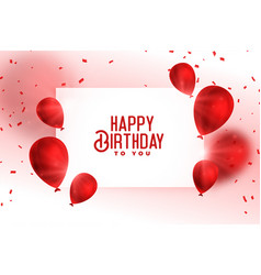 Happy birthday red balloons card design vector