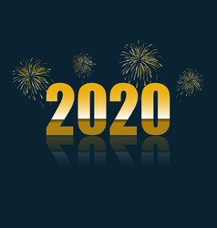 Happy new year 2020 with reflect vector