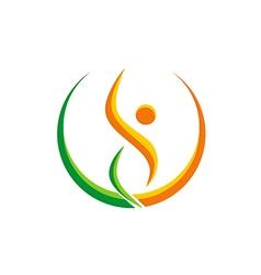 Happy people sport yoga beauty logo vector
