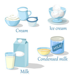 ice cream and cream condensed milk or kefir vector image
