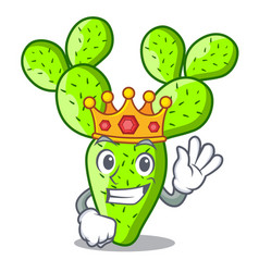 King cartoon the prickly pear opuntia cactus vector