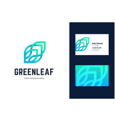 logo and business card template with green leaf vector image