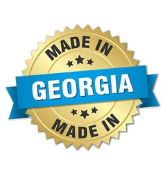 made in Georgia gold badge with blue ribbon vector image