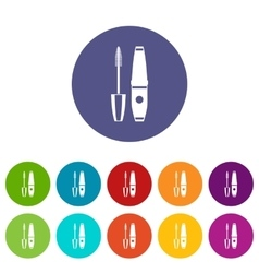 Mascara mascara brush set icons vector