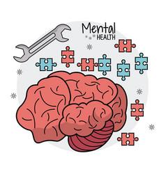Mental health brain puzzle innovation vector