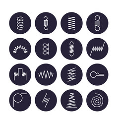 Metal spring flat line icons variety of flexible vector