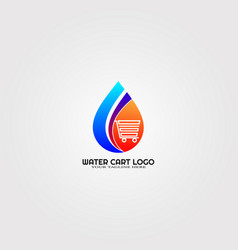 modern droplet logo template with cart logo for vector image