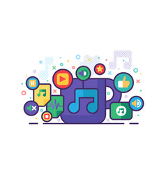 Music multimedia banner with colorful app signs vector