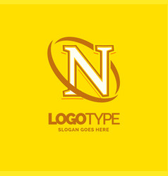 n logo template yellow background circle brand vector image