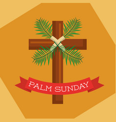 Palm sunday branch ribbon decoration yellow vector