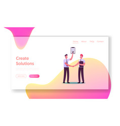 Partners and partnership landing page template vector