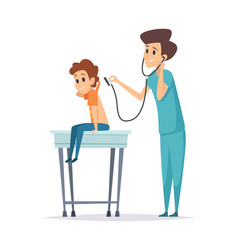 pediatrician diagnosis boy visit doctor hospital vector image