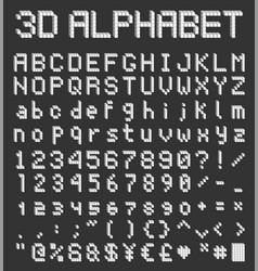 pixel block alphabet 3d retro font vector image