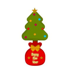 present sack with a christmas tree vector image