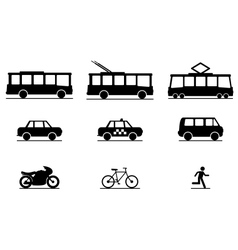 Public Transportation Icons vector image