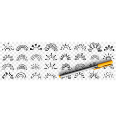 rainbow patterns and rays drawings doodle set vector image