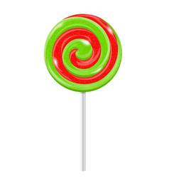red and green swirl lollipop sugar candy vector image