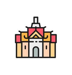 royal palace in thailand bangkok flat color line vector image