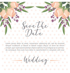 save the date card flowers decoration ornament vector image
