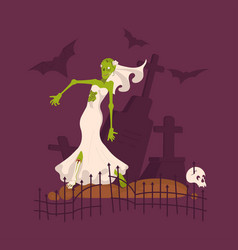 scary dead bride wearing wedding dress vector image