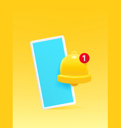 smartphone with bell icon notification vector image