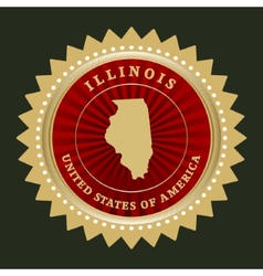 Star label Illinois vector image