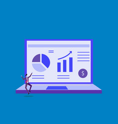 Statistics charts analysis on computer screen vector