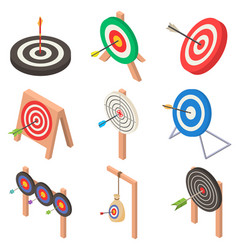 target with arrow icons set isometric style vector image