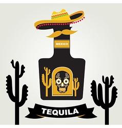 Tequila menu design Mexican drink vector