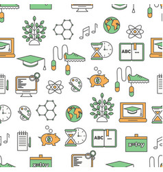 thin line art school seamless pattern vector image