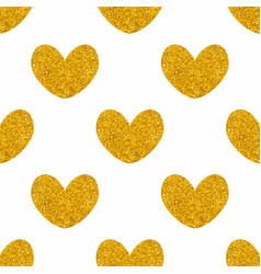 tile pattern with golden hearts on white vector image