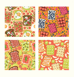 Toast seamless pattern sandwich healthy toasted vector