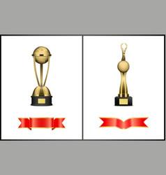 Triumphal statuette and blank silk ribbons set vector