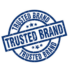 trusted brand blue round grunge stamp vector image