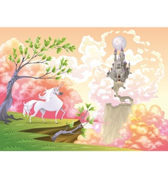 Unicorn and mythological landscape vector image
