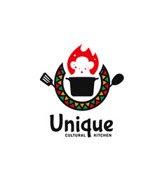 Unique cultural kitchen logo icon badge with hot vector