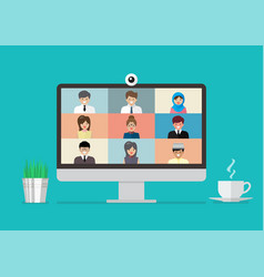 Video conference on computer display vector