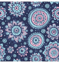 Vintage Christmas seamless pattern with flowers vector