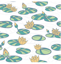 water lilies in swan pond seamless pattern vector image
