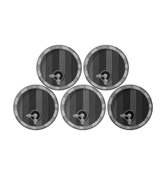 Wine barrels icon in monochrome style isolated on vector