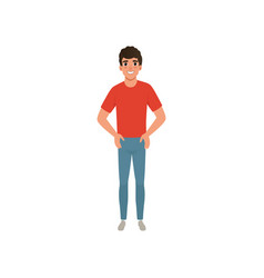 Young caucasian man dressed in red t-shirt and vector