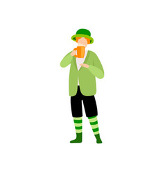 young man in green irish costume drinking beer vector image
