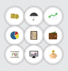 flat exchequer set of money box parasol cash and vector image