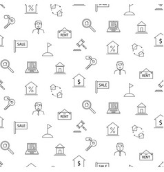 real estate black and white icon seamless pattern vector image vector image
