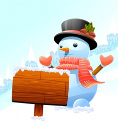 snowman and wooden sign vector image vector image