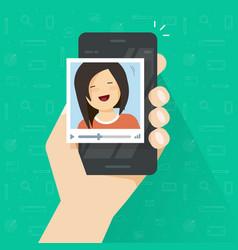 video call on smartphone flat cartoon vector image